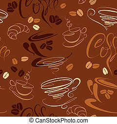 Seamless pattern with coffee cups, beans, croissant,...