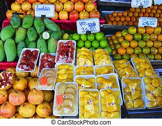 店, タイ, フルーツ