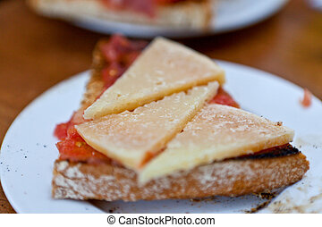Queso cheese on bread - Close up view of slices of queso...