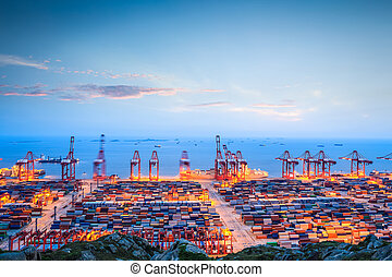 container terminal in twilight - shanghai container terminal...