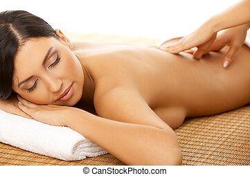Spa and Massage - Portrait of Fresh and Beautiful brunette...