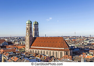 The Church of Our Lady Frauenkirche in Munich Germany,...