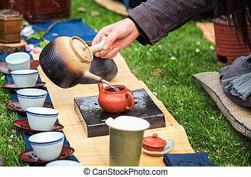 tea ceremony - oriental traditional tea ceremony on the...