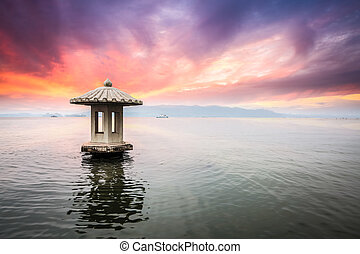 hangzhou scenery in sunset,beautiful the west lake...