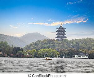 leifeng pagoda in afterglow - beautiful hangzhou west lake...