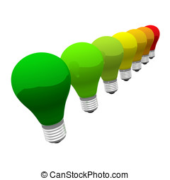 Energy efficiency concept - Some lightbulb in diverse colors...
