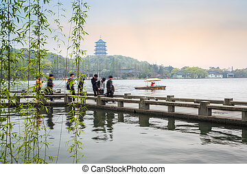 beautiful hangzhou west lake scenery in spring - beautiful...