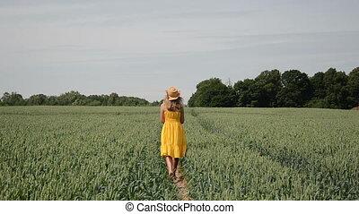 wheat field girl walk