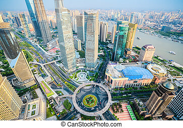 a birds eye view of shanghai downtown - birds eye view of...
