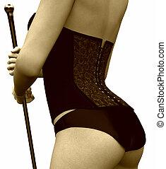 Closeup of a cabaret girl\'s corset - A closeup image of a...
