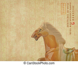Ceramic horse souvenir on old paper,Chinese calligraphy....