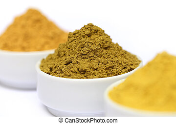Henna uptan sandalwood powder on ceramic bowl