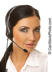 Secretary online - Portrait of beautiful secretary isolated...