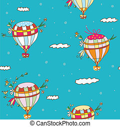 Hot air balloon seamless pattern - funny travel idea