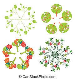 Leaves, trees, flowers symbols in circle set