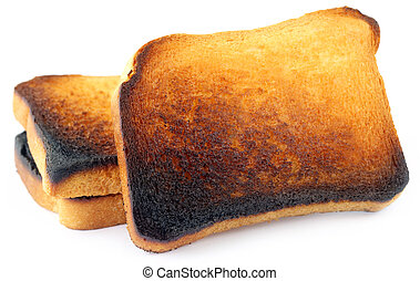 Burnt Toast over white background