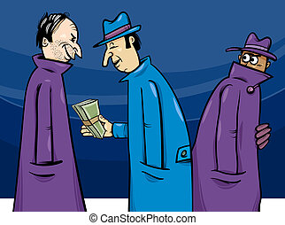 crime or corruption cartoon illustration - Cartoon Concept...