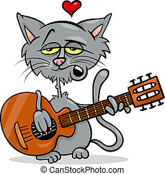 cat in love cartoon illustration - Valentines Day Cartoon...