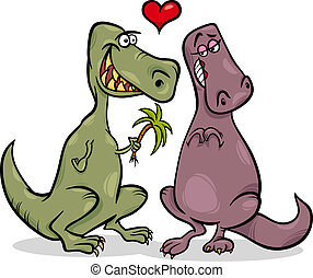 dinos in love cartoon illustration - Valentines Day Cartoon...