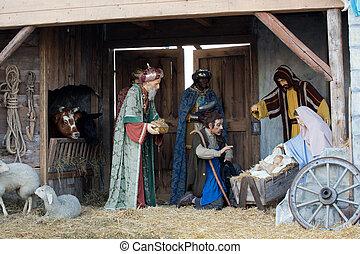 Nativité, sage,  &, hommes, Trois,  scène, Dons,  Joseph,  jésus, présentation, bébé, marie, noël