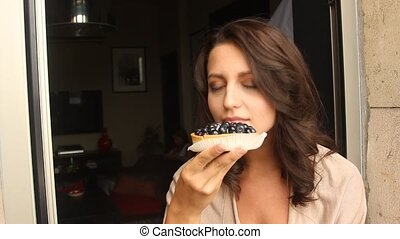 Young Woman Eating the cake - Young Woman Eating the...