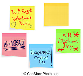 Reminder notes - Valentine, Mothers Day, Fathers Day -...