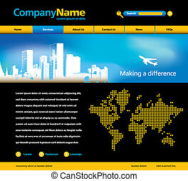 website template - Editable vector website template with...