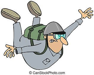 Skydiver - This illustration depicts a man free falling with...