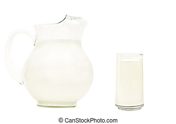 Glass pitcher of milk with drinking glass isolated on white...