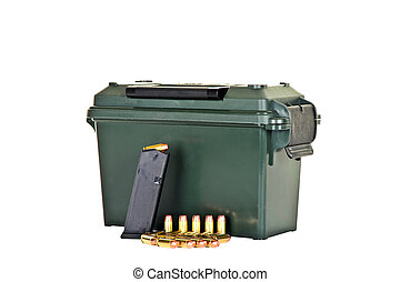 Ammo Box with Loaded High Capacity Handgun Magazine and...