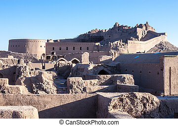 Ancient citadel of Bam, during reconstruction of damage by...
