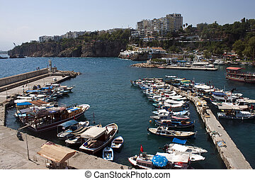 Harbor in Antalya witk small boats, Turkey