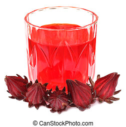 Roselles with juice over white background