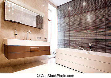 Bathroom with Mirror and tub worm colours