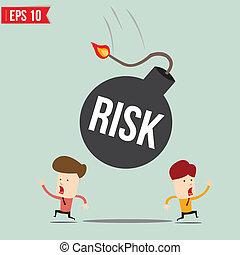 Businessman run away from risk bomb