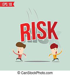 Businessman run away from risk burden