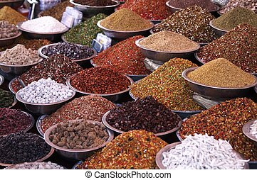 Markets Stall Selling Ingredients - Bowls of pulses and...