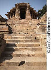 Ancient Hindu Temple - Steps leading to the Sun Temple at...
