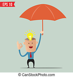 Business cartoon holding umbrella for ind care and...