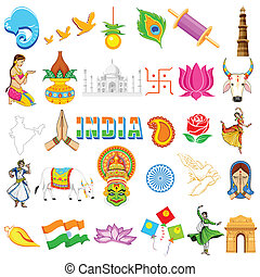 Indian Icon - illustration of set of Indian icon showing...