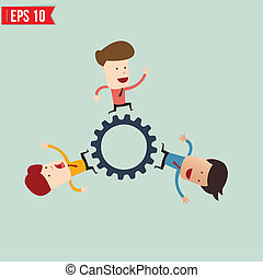 Businessman with gears - Vector illustration - EPS10