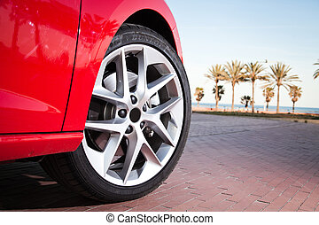 Car wheel in summer