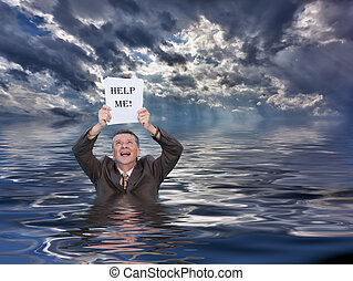 Senior man holding help me paperwork in water - Conceptual...