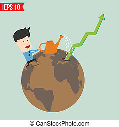 Business man watering graph  - Vector illustration - EPS10