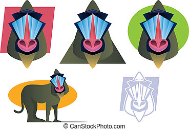Mandrill Baboon Mascot Set - Various colorful Baboon...