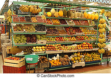 Public market - Photo of banking fruits, vegetables and...