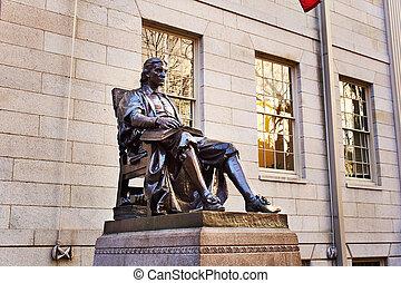 John Harvard statue at Harvard University - John Harvard...
