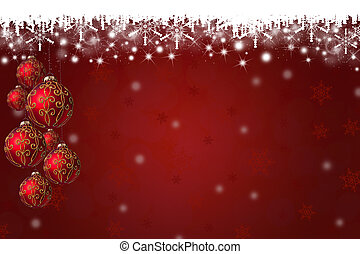Snowflakes and Christmas Baubles Background