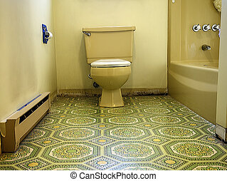 Gaudy Bathroom - Bathroom designed in hideous green and...