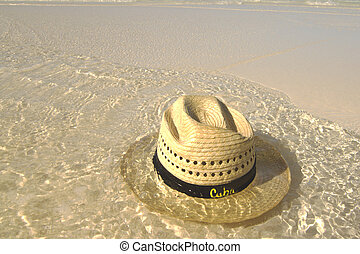 Cuban Beach - Straw hat on Cuban beach